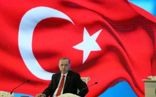 Turkey's President Tayyip Erdogan attends Uzbekistan - Turkey Business Forum in Tashkent, Uzbekistan April 30, 2018. Picture taken April 30, 2018. Cem Oksuz/Turkish Presidential Palace/Handout via REUTERS ATTENTION EDITORS - THIS PICTURE WAS PROVIDED BY A THIRD PARTY. NO RESALES. NO ARCHIVE.?