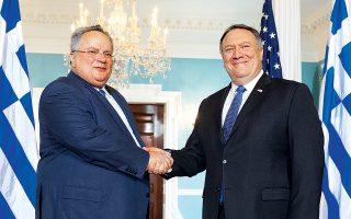 Το τρίπτυχο ασφάλεια, ενέργεια και τεχνολογία κυριάρχησε στις συνομιλίες του υπουργού Εξωτερικών Ν. Κοτζιά με τον Αμερικανό ομόλογό του Μάικ Πομπέο στην Ουάσιγκτον.