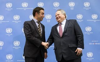epa06692020 FYROM Foreign Minister Nikola Dimitrov (L), and  Greek Foreign Minister Nikos Kotzias (R) arrive for a meeting at the UN in ViennaAustria, 25 April 2018. The foreign ministers of the Former Yugoslav Republic of Macedonia (FYROM) and Greece are invited by the United Nations for talks to resolve a long-standing name dispute between the two countries.  EPA/ALEX HALADA