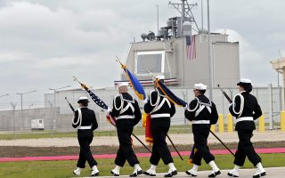 epa05301222 US marines carry the flags, having the Command Center building in background, prior to the official inauguration ceremony held at Aegis Ashore Missile Defense System (AAMDS), a military anti-ballistic missile defense facility at Deveselu, 180 Km south from Bucharest, Romania, 12 May 2016. High ranked Romanian officials and representatives of the US Departments of Defense and State, the US Navy's European headquarters and NATO decision makers joined the event. Construction of Aegis Ashore Missile Defense System Complex was started in 2013, in order to support the European Phase Adaptive Approach Phase II (EPAA) missile defence base, the cost of building being estimated at 124 million US dollars. The facility was declared operational in the presence of Jens Stoltenberg, NATO Secretary General.  EPA/ROBERT GHEMENT