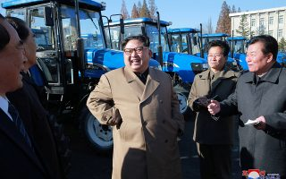 North Korean leader Kim Jong Un gives field guidance to the Kumsong Tractor Factory in this undated picture provided by KCNA in Pyongyang on November 15, 2017. KCNA via Reuters ATTENTION EDITORS - THIS IMAGE WAS PROVIDED BY A THIRD PARTY. REUTERS IS UNABLE TO INDEPENDENTLY VERIFY THIS IMAGE. SOUTH KOREA OUT. NO THIRD PARTY SALES. NOT FOR USE BY REUTERS THIRD PARTY DISTRIBUTORS