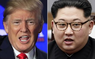 FILE - This combination of two file photos shows U.S. President Donald Trump, left, speaking during a roundtable discussion on tax cuts in Cleveland, Ohio, May 5, 2018 and North Korean leader Kim Jong Un, right, talking with South Korean President Moon Jae-in in Panmunjom, South Korea, April 27, 2018. U.S. Secretary of State Mike Pompeo arrived in North Korea on Wednesday, May 9, 2018, to finalize details of a planned summit between President Donald Trump and North Korea leader Kim Jong Un. (AP Photo/Manuel Balce Ceneta, Korea Summit Press Pool via AP, File)