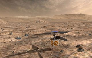 epa06729526 An undated handout photo made available by NASA on 12 May 2018 shows an artist's impression of NASA's Mars Helicopter. The Mars Helicopter, a small, autonomous rotorcraft, will travel with the agency's Mars 2020 rover mission, currently scheduled to launch in July 2020, to demonstrate the viability and potential of heavier-than-air vehicles on the Red Planet.  EPA/NASA/JPL-Caltech HANDOUT  HANDOUT EDITORIAL USE ONLY/NO SALES