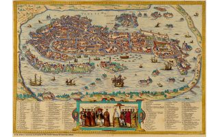 Η Βενετία όπως απεικονίστηκε στα τέλη του 16ου αιώνα από τους Georg Braun και Franz Hogenberg στο έργο «Civitates Orbis Terrarum».