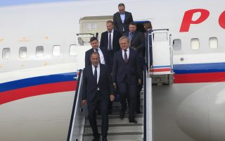 Russian Foreign Minister Sergei Lavrov, front, and his delegation arrive at the Pyongyang Airport, Thursday, May 31, 2018, in Pyongyang, North Korea. Lavrov's visit comes ahead of a planned summit between President Donald Trump and North Korean leader Kim Jong Un and is seen as an attempt by Moscow to ensure its voice is heard in the North's diplomatic overtures with Washington, Seoul and Beijing. (AP Photo/Jon Chol Jin)