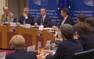 Facebook's CEO Mark Zuckerberg answers questions about the improper use of millions of users' data by a political consultancy, at the European Parliament in Brussels, Belgium, in this still image taken from Reuters TV May 22, 2018. REUTERS/ReutersTV
