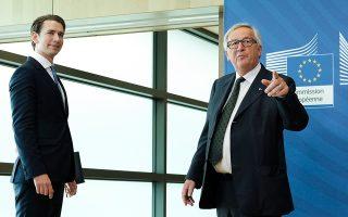 Ο επικεφαλής της Κομισιόν Ζαν-Κλοντ Γιούνκερ υποδέχεται τον Αυστριακό καγκελάριο Κουρτς στις Βρυξέλλες.