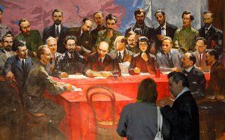 Μια ζωγραφική αποτύπωση του Λένιν περιστοιχισμένου από υποστηρικτές του στο Κίεβο.
