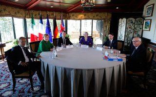 Το πλαίσιο της συνόδου G7 καθορίστηκε από τις πρόσφατες αποφάσεις του προέδρου Τραμπ και τις αντιδράσεις που προκάλεσαν. Στη φωτογραφία, η ευρωπαϊκή ομάδα του G7 (από αριστερά: Ντόναλντ Τουσκ, Αγκελα Μέρκελ, Εμανουέλ Μακρόν, Τερέζα Μέι, Τζουζέπε Κόντε, Ζαν-Κλοντ Γιούνκερ).