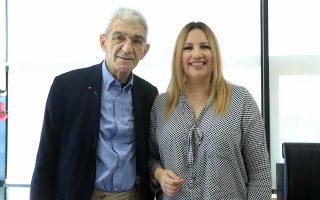 Η κ. Φώφη Γεννηματά, κατά τη συνάντησή της με τον Γ. Μπουτάρη, στο πλαίσιο της περιοδείας της στη Θεσσαλονίκη.