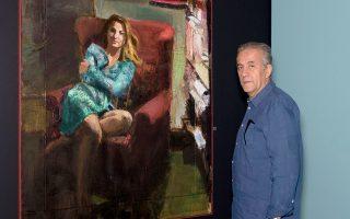 Ο Φραγκίσκος Δουκάκης με το πορτρέτο της Δήμητρας, της συζύγου του.