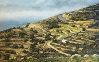 Τοπίο (λεπτ.) του Αντώνη Σκαμπαβίρια από την ατομική έκθεσή του (Gallery Genesis).