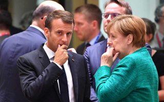 Προβληματισμένοι ο Γάλλος πρόεδρος Εμανουέλ Μακρόν και η Γερμανίδα καγκελάριος Αγκελα Μέρκελ. Η σύνοδος που ξεκίνησε χθες επρόκειτο να έχει ως κεντρικό θέμα τις προτάσεις Μακρόν για τις μεταρρυθμίσεις στην Ευρωζώνη. Το προσφυγικό, όμως, και η επακόλουθη κυβερνητική κρίση στο Βερολίνο μονοπώλησαν τις συζητήσεις, με αποτέλεσμα το φιλόδοξο σχέδιο του Γάλλου προέδρου να βρίσκεται σε νεκρό σημείο.