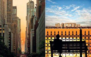 Με το θερινό ηλιοστάσιο θα ξεκινήσει και επίσημα το φετινό καλοκαίρι, με τη μεγαλύτερη σε διάρκεια ημέρα του έτους. Οι κάτοικοι της Νέας Υόρκης γίνονται μάρτυρες ενός ξεχωριστού ηλιοβασιλέματος, γνωστού και ως «Manhattanhenge» (αριστερά), ενώ, κάθε χρόνο, χιλιάδες επισκέπτες συσσωρεύονται στο μνημείο του Στόουνχεντζ στη Βρετανία για να γιορτάσουν το θερινό ηλιοστάσιο (δεξιά πάνω).
