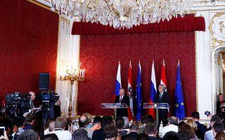 Ο πρόεδρος της Αυστρίας βαν ντερ Μπέλεν υποδέχθηκε χθες τον Πούτιν στη Βιέννη.