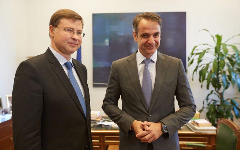 Δραστική παρέμβαση για το χρέος ζήτησε ο Μητσοτάκης από τον Ντομπρόβσκις