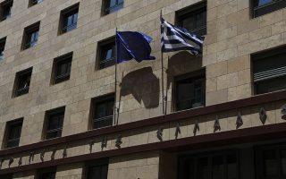 Οι σημαίες της Ελλάδας και της Ε.Ε. κυματίζουν στο κτίριο της Τραπέζης της Ελλάδος. Η δεύτερη, κάποια στιγμή, κινδύνευσε με υποστολή.