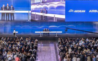 Γενική άποψη από την εκδήλωση για την υπογραφή της συμφωνίας της Aegean με την Airbus.