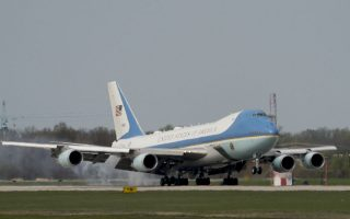 Air Force One with President Donald Trump aboard arrives at Andrews Air Force Base, Md., Sunday, April 22, 2018. Trump returns to Washington from a week in Mar-a-Lago in Palm Beach, Fla. (AP Photo/Andrew Harnik)