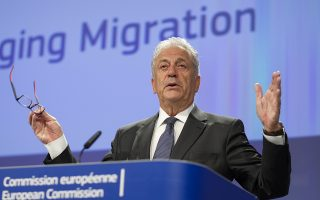 epa06826441 EU Commissioner for migration and home affairs Dimitris Avramopoulos gives a press conference in Brussels, Belgium, 21 June  2018.  Dimitris Avramopoulos spoke to the press ahead to the informal working heads of states meeting on migration and asylum issues in Brussels on 25 June 2018, in order to work with a group of Heads of State or Government of Member States interested in finding European solutions ahead of the upcoming European Council.  EPA/OLIVIER HOSLET