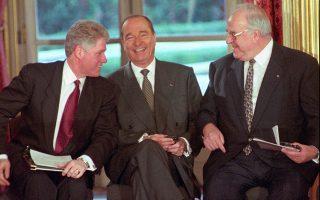 Μπιλ Κλίντον, Ζακ Σιράκ και Χέλμουτ Κολ στο Παρίσι, τον Δεκέμβριο του 1995, για την περίφημη συμφωνία του Ντέιτον.