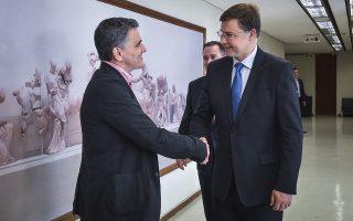 Συνάντηση του υπουργού Οικονομικών Ευκλείδη Τσακαλώτου με τον αντιπρόεδρο της Ευρωπαϊκής Επιτροπής, Βάλντις Ντομπρόβσκις την Παρασκευή 15 Ιουνίου 2018.(EUROKINISSI/ΤΑΤΙΑΝΑ ΜΠΟΛΑΡΗ)