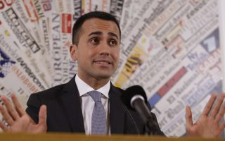 Five-Star Movement's leader Luigi Di Maio, talks at the foreign press association headquarters in Rome, Tuesday, March 13, 2018. (AP Photo/Alessandra Tarantino)