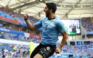 epa06824889 Luis Suarez of Uruguay celebrates after scoring the 1-0 lead during the FIFA World Cup 2018 group A preliminary round soccer match between Uruguay and Saudi Arabia in Rostov-On-Don, Russia, 20 June 2018.