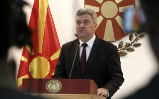 Macedonian President George Ivanov addresses to the media in the Presidential office in Skopje, Macedonia, Wednesday, June 13, 2018. Macedonia's president said Wednesday that he would not sign off on a historic deal that would change the country's name, the most potentially disruptive reaction so far to the agreement with Greece that has received diverging reactions in both countries. (AP Photo/Boris Grdanoski)