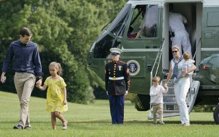 White House Senior Adviser Jared Kushner, left, and Ivanka Trump, far right, the daughter and assistant to President Donald Trump, following their arrival on Marine One helicopter, with their children from l-r., Arabella, Joseph, and Theodore, on the South Lawn of the White House in Washington, Sunday, Aug. 27, 2017. (AP Photo/Pablo Martinez Monsivais)