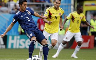 epa06821105 Gen Shoji of Japan in action during the FIFA World Cup 2018 group H preliminary round soccer match between Colombia and Japan in Saransk, Russia, 19 June 2018.(RESTRICTIONS APPLY: Editorial Use Only, not used in association with any commercial entity - Images must not be used in any form of alert service or push service of any kind including via mobile alert services, downloads to mobile devices or MMS messaging - Images must appear as still images and must not emulate match action video footage - No alteration is made to, and no text or image is superimposed over, any published image which: (a) intentionally obscures or removes a sponsor identification image; or (b) adds or overlays the commercial identification of any third party which is not officially associated with the FIFA World Cup)  EPA/ERIK S. LESSER   EDITORIAL USE ONLY