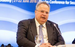 Ο υπουργός Εξωτερικών Νίκος Κοτζιάς μιλάει κατά τη διάρκεια των εργασιών τρίτης Διάσκεψη της Ρόδου για την Ασφάλεια και τη Σταθερότητα  που πραγματοποιείται στις 21 και 22 Ιουνίου με τη συμμετοχή Υπουργών Εξωτερικών και υψηλών αξιωματούχων προερχομένων από χώρες της Μεσογείου, της Μέσης Ανατολής, Οργανισμούς συνεργασίας αραβικών χωρών, καθώς και παρατηρητών από χώρες εκτός της περιοχής, όπως το Βιετνάμ, η Κολομβία και η Ινδονησία, Παρασκευή 22 Ιουνίου 2018. Με στόχο την εκπόνηση μίας κοινής ατζέντας για τη σταθερότητα, την ασφάλεια και τη συνεργασία πάνω σε νευραλγικούς τομείς της οικονομίας, όπως οι τηλεπικοινωνίες και οι μεταφορές, συνεχίζονται και σήμερα οι εργασίες της 3ης Διάσκεψης για την Ασφάλεια και Σταθερότητα στη ΝΑ Μεσόγειο, που διοργανώνεται στη Ρόδο. ΑΠΕ ΜΠΕ/ ΑΠΕ ΜΠΕ/ ΔΑΜΙΑΝΙΔΗΣ ΛΕΥΤΕΡΗΣ