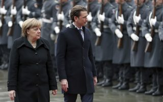 German Chancellor Angela Merkel, left, welcomes the Chancellor of Austria Sebastian Kurz, right, with military honors for a meeting at the chancellery in Berlin, Germany, Wednesday, Jan. 17, 2018. (AP Photo/Michael Sohn)