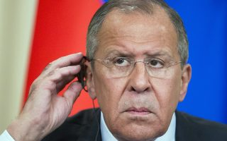 Russian Foreign Minister Sergey Lavrov prepares to take a question during his and Egyptian Foreign Minister Sameh Shoukry joint news conference following the talks in Moscow, Russia, Monday, May 14, 2018. Russian and Egyptian officials agreed Monday to expand industrial and military cooperation between the two countries. (AP Photo/Alexander Zemlianichenko)