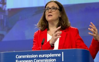 European Commissioner for Trade Cecilia Malmstroem speaks during a media conference at EU headquarters in Brussels, Tuesday, June 26, 2018. European Commissioner Malmstrom on Tuesday presented the annual report on Trade and Investment Barriers around the world in 2017. (AP Photo/Virginia Mayo)