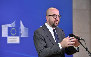 Belgian Prime Minister Charles Michel speaks after arriving to take part in an emergency European Union leaders summit on immigration, in Brussels, Belgium June 24, 2018.  REUTERS/Eric Vidal