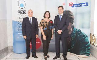 Η συνεργασία των δύο πλευρών εστιάζει στη στήριξη της νεανικής επιχειρηματικότητας. Στη φωτογραφία (από αριστερά) ο αναπληρωτής CEO της Eurobank Στ. Ιωάννου, η κοσμήτωρ του Ryerson University δρ Μ. Μπουντρογιάννη και ο διευθύνων σύμβουλος της Eurobank Φ. Καραβίας.