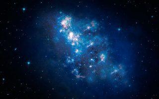 Εντυπωσιακός γαλαξίας, τη στιγμή της δημιουργίας του, πριν από 700 εκατομμύρια χρόνια, όπως τον κατέγραψε το τηλεσκόπιο Χαμπλ.