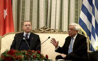 Ο Πρόεδρος της Δημοκρατίας Προκόπης Παυλόπουλος (Δ) συνομιλεί με τον Πρόεδρο της Τουρκίας Ρετζέπ Ταγίπ Ερντογάν(Recep Tayyip Erdo?an) (Α) κατά τη διάρκεια της συνάντησής τους, στο Προεδρικό Μέγαρο,  την  Πέμπτη 07 Δεκεμβρίου 2017. Διήμερη επίσημη επίσκεψη στην Ελλάδα  πραγματοποιεί ο Πρόεδρος της Τουρκίας Ρετζέπ Ταγίπ ΕρντογάνΑΠΕ-ΜΠΕ/ΑΠΕ-ΜΠΕ/ΣΥΜΕΛΑ ΠΑΝΤΖΑΡΤΖΗ