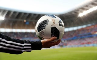 Soccer Football - World Cup - Group C - Peru vs Denmark - Mordovia Arena, Saransk, Russia - June 16, 2018  General view of a match ball   REUTERS/Max Rossi
