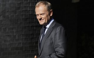 Donald Tusk, President of the European Council arrives to meet Britain's Prime Minister Theresa May in Downing Street in London, Monday, June 25, 2018. (AP Photo/Kirsty Wigglesworth)