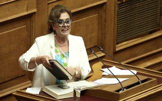 Η βουλευτής του ΣΥΡΙΖΑ Θεοδώρα Μεγαλοοικονόμου άνοιξε βαριά κιτάπια στη Βουλή.