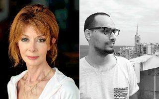 Η Πολίν Σιμόν, που συνέλαβε και οργάνωσε το βραβείο για τους νέους καλλιτέχνες της Μεσογείου. Δεξιά, ο φετινός νικητής Αμπντελαζίζ Ζερού.