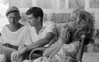 Ο Ζυλ Ντασσέν, ο Αντονι Πέρκινς και η Μελίνα Μερκούρη στην αγαπημένη Υδρα.