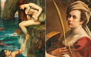 Λεπτομέρεια «Ο Υλας και οι Νύμφες» (1896) του Τζον Ουίλιαμ Ουότερχαουζ, αριστερά, «Η Αγία Αικατερίνη της Αλεξάνδρειας» (1615-18) της Αρτεμισίας Τζεντιλέσκι (δεξιά).