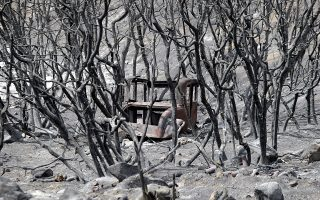 epaselect epa06918386 A vintage vehicle is seen through the devastation brought by the Cranston Fire near  Mountain Center, California, USA, 29 July 2018. Several fires in California have left at least six people dead, destroyed hundreds of homes, burned thousands of acres and caused the evacuation of at least 50,000.  EPA/MIKE NELSON