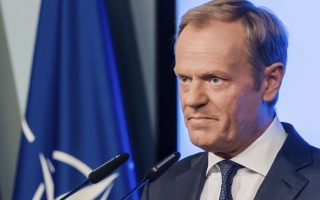 European Council President Donald Tusk addresses the media after the signature of the second EU NATO Joint Declaration, in Brussels on Tuesday, July 10, 2018.  The Joint Declaration between NATO and the European Union commits the partners on cooperation and security.(AP Photo/Geert Vanden Wijngaert)
