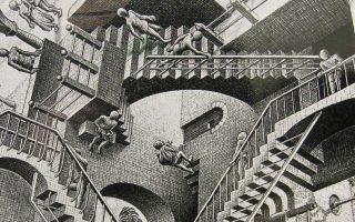 Οι «αδύνατες σκάλες» του Εσερ, βασισμένες σε μια έννοια του ψυχιάτρου Λάιονελ Πένροουζ και του γιου του, του φυσικομαθηματικού Ρότζερ Πένροουζ.