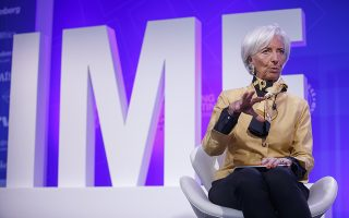 epa06679985 IMF Managing Director Christine Lagarde delivers remarks during a panel discussion on Reforming the Euro Area: Views from inside and outside of Europe during the 2018 World Bank Group IMF Spring Meetings at IMF Headquarters in Washington, DC, USA, 19 April 2018. 2018 International Monetary Fund World Bank Group Spring Meetings run through 17-21 April 2018.  EPA/SHAWN THEW