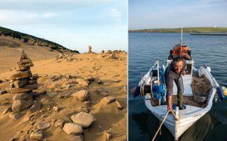 Οι αμμοθίνες της Λήμνου είναι ένα μοναδικό φυσικό φαινόμενο, μια έρημος στην ενδοχώρα του νησιού. Δεξιά: Πλούσιος ψαρότοπος η Νέα Κούταλη, γι' αυτό το μεγαλύτερο ποσοστό των κατοίκων είναι ψαράδες. (Φωτογραφία: Άγγελος Γιωτόπουλος)